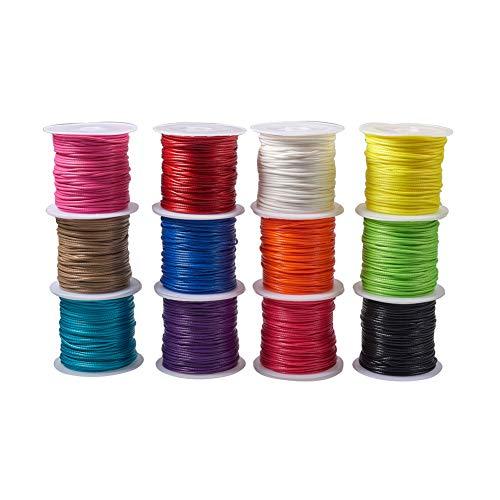PandaHall 12 Colores 1mm Hilo de cordón de poliéster Encerado Cadena de Abalorios para la fabricación de la Joya y Suministros de macramé, 12 x 10.9 Yarda