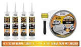 RV Flex Repair Self Leveling Caulking Lap Sealant   White   4-10 oz Tubes of RV Caulk and 1 Roll of 4 inch x 50 Foot RV Flex Repair Seam Tape (White)  for Rubber Roof   EPDM   RV Leveling   Bond Kit