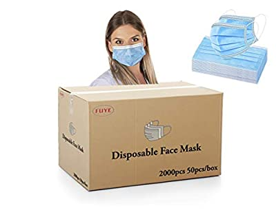 [Pack of 2000] Fuye Blue Disposable Face Masks | Protective 3-Ply Breathable Comfortable Nose/Mouth Coverings for Home & Office | Elastic Ear Loop 3-Layer Safety Shield for Adults/Kids.