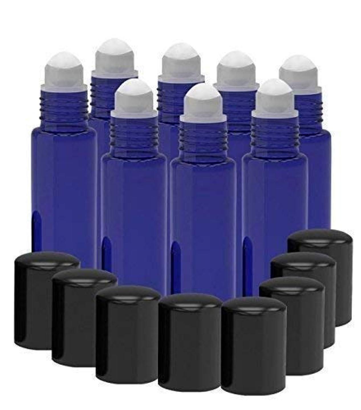 8 Pack - Essential Oil Roller Bottles [PLASTIC ROLLER BALL] 10ml Refillable Glass Color Roll On for Fragrance Essential Oil - Metal Chrome Roller Ball - 10 ml 1/3 oz (Cobalt Blue)