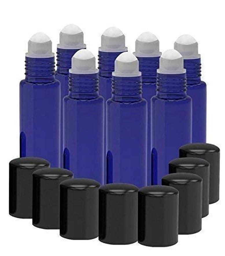 邪魔する小説オープニング8 Pack - Essential Oil Roller Bottles [PLASTIC ROLLER BALL] 10ml Refillable Glass Color Roll On for Fragrance Essential Oil - Metal Chrome Roller Ball - 10 ml 1/3 oz (Cobalt Blue) [並行輸入品]