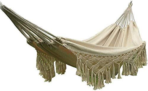 WYJW Dubbele Camping Hangmat, Natuurlijke witte dubbele hangmat met franjes - handgeweven biologisch katoen laadvermogen tot 300 kg 200 * 150cm