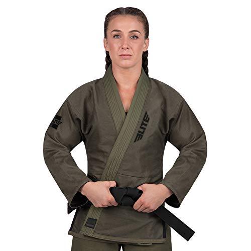 Elite Sports Ultra-Light Women's BJJ GI - IBJJF Jiu-Jitsu GI for Girls and Women (See Special Sizing Guide) (Military Green, F4)