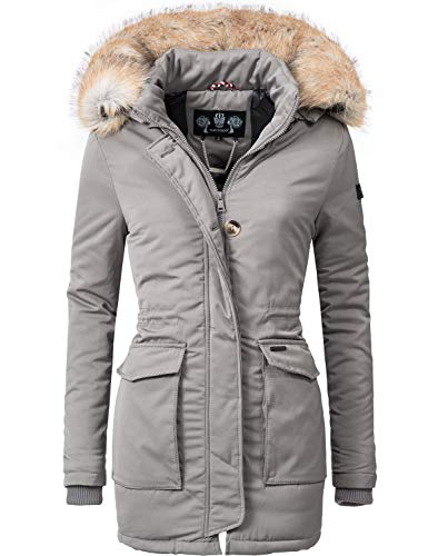 Navahoo Damen Winter-Jacke Winter-Mantel Schneeengel (vegan hergestellt) Grau Gr. L