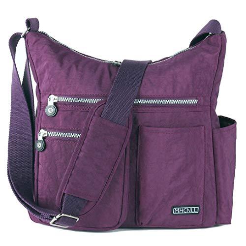 Crossbody Bag with Anti Theft RFID Pocket - Women Lightweight Water-Resistant Purse (purple)