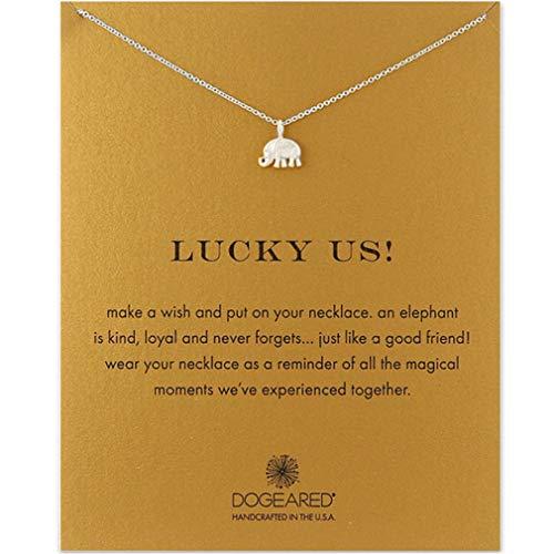 Winwinfly amitié ancre boussole collier bonne chance éléphant pendentif chaîne collier avec carte-cadeau carte-cadeau