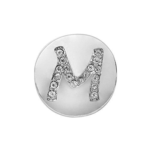 Eligo Jewellery Versilbert 18mm Drückknopf Click Button Alphabet M Glänzend Chunk für Eligo 18mm Chunk Armbänder