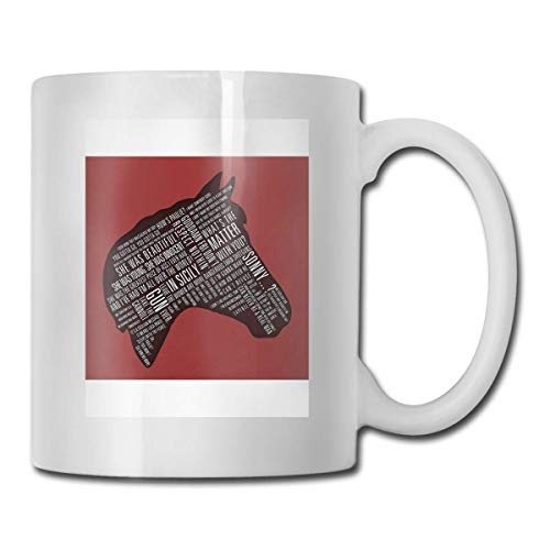 Padrino - Copas de cerámica con estampado de citas de cabeza de caballo Código 330ml