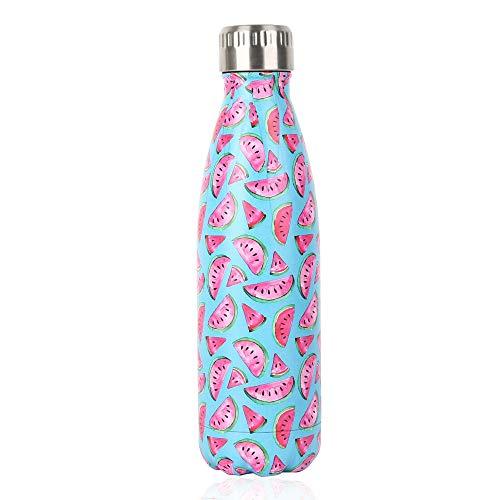 Bottiglia con doppio strato in acciaio inox,portatile BPA free Bottiglia,viaggio per sport senza perdite costruita per non far formare condensa puoi bere sia bevande calde che fredde 17oz,Rosa
