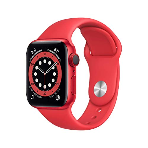AppleWatch Series 6 (GPS + Cellular, 40mm) - (Product) RED Aluminum Case with RED Sport Band (Renewed)