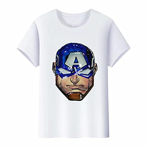 XNheadPS Chicos Capitán América Camiseta con luz LED Niños Avengers Verano Top Superhéroe tee Unisex Pure Cotton Summer Moda de Manga Corta,White- Kid 130cm