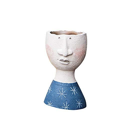 fan pin dian zi Resina Maceta del Escritorio Mini Bonsai Pot, Planta De Tiesto 3D Escultura del Personaje Retrato Sostenedores De La Planta De Aire Florero