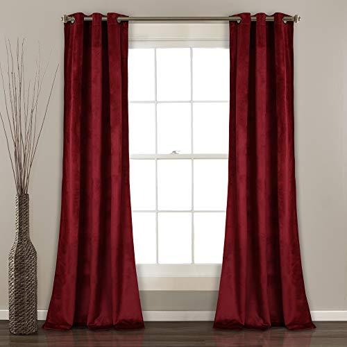"Lush Decor Prima Velvet Curtains Color Block Room Darkening Window Panel Set for Living, Dining, Bedroom (Pair), 84"" L, Red"