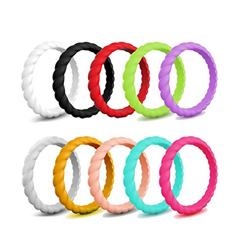 WANGYIYI 10pcs / Set Anillos de Bodas de Silicona ondulados Anillo de Dedo de Goma de Compromiso de Boda Flexible Bandas de Silicona Ambiental de 3 mm de Ancho (Size : Size 5)