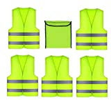GibtPlus+ 5 Stück Warnweste Gelb Weste Reflektierende Sicherheitfür KFZ Arbeitskleidung