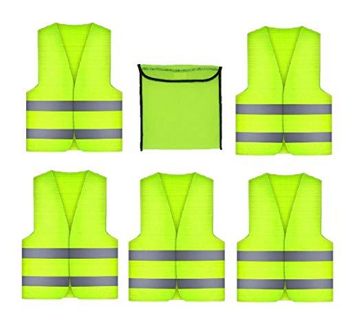 GibtPlus+ 5 Stück Warnweste Gelb Weste Reflektierende Sicherheitfür KFZ Arbeitskleidung, Nacht Laufen Radfahren Mann Nacht Warnung, EN ISO 20471