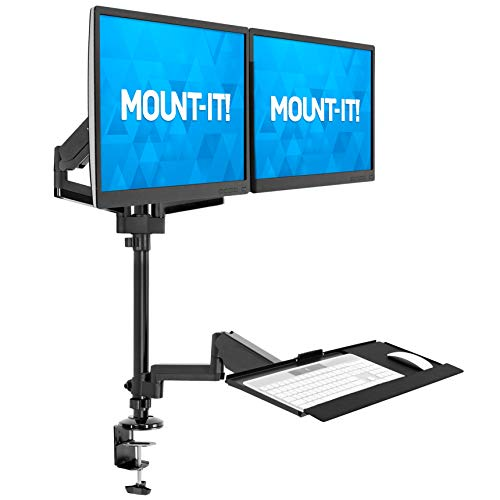 MOUNT-IT! Dual Monitor Sit Stand Workstation [2 Screens up to 32' Each] Height Adjustable and Quick Release Screen Mount, Standing Desk with Keyboard Tray, (Black)