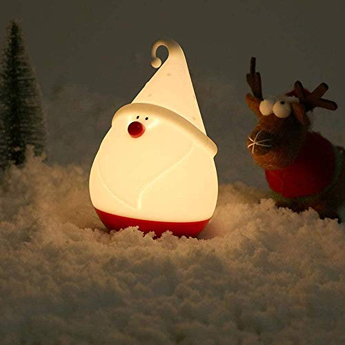 White Light/Warm Light Dual Color Portable LED Sleep Lamp,Cute Santa Claus Night Light,USB Rechargeable Silicone Atmosphere Lamp Baby Bedroom Decorative Table Lamp,Festival Toy Gifts Light for Kids.