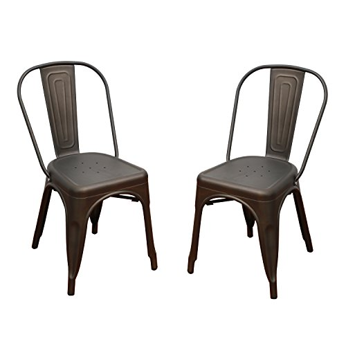 Adeco Metal Stackable Industrial Chic Dining Bistro Cafe Side Chairs,Outdoor and Indoor,Black Bronze,Set of 2