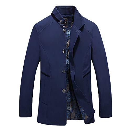 MAYOGO Herren warm Baumwolle Mäntel Jacke Männer Kurzmantel Winter Jacke Business Slim fit (Blue, XXL)