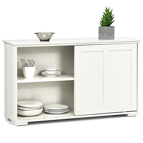 Costzon Kitchen Storage Sideboard, Antique Stackable Cabinet for Home Cupboard Buffet Dining Room (Cream White with Sliding Door)