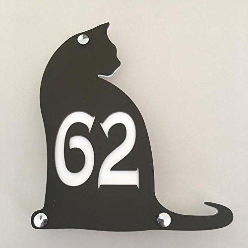 ServeWell - Targa con numero civico di gatto, finitura opaca, 24 cm x 21 cm