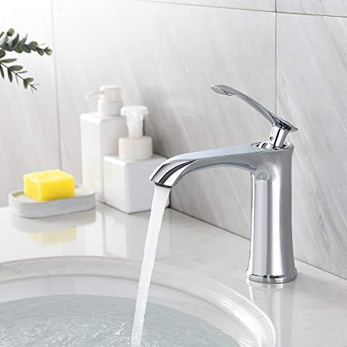 Auralum Wasserhahn Bad Design Waschtischarmatur Einhebelmischer Mischbatterie, Waschbeckenarmatur für Badezimmer chrom