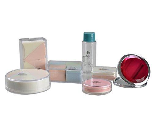 Miss Gorgeous Houppette Maquillage et Beauté éponge avec bouteille de voyage Mini miroir – Lot de 7