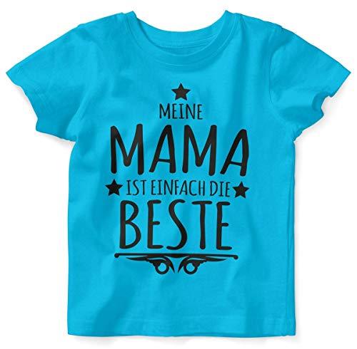 Mikalino Baby/Kinder T-Shirt mit Spruch für Jungen Mädchen Unisex Kurzarm Meine Mama ist einfach die Beste | handbedruckt in Deutschland | Handmade with Love, Farbe:Atoll, Grösse:80/86