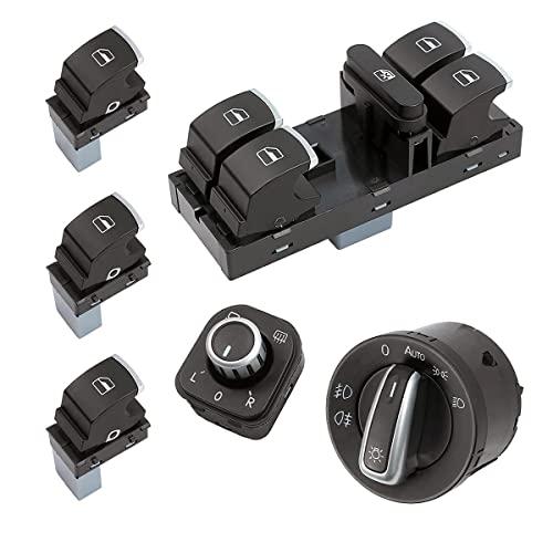 SISS Juego de 6 interruptores de luz principal, ajuste de espejo y elevalunas para todas las puertas compatibles con VW Golf 5, Golf6, Passat 3C, Tiguan, 5ND959565A 5ND959857 5ND959855 5ND941431B