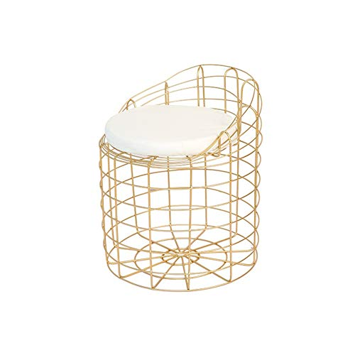 Silla WUBINGRIZADIAN Nórdico creativo de hierro comedor cafetería moderna minimalista alambre hueco bar salón de cambio de zapatos banco 6.24 dorado