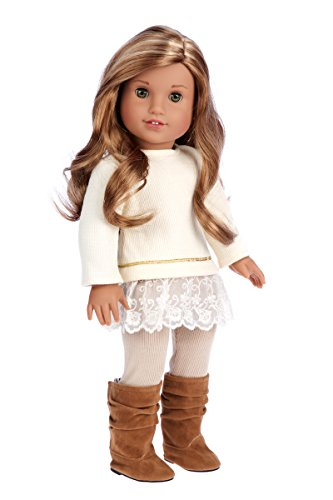 DreamWorld Collections - Romantic Melody - 3 Piece Outfit - Tunic, Leggings and Boots - Clothes Fits 18 Inch American Girl Doll (Doll Not Included)