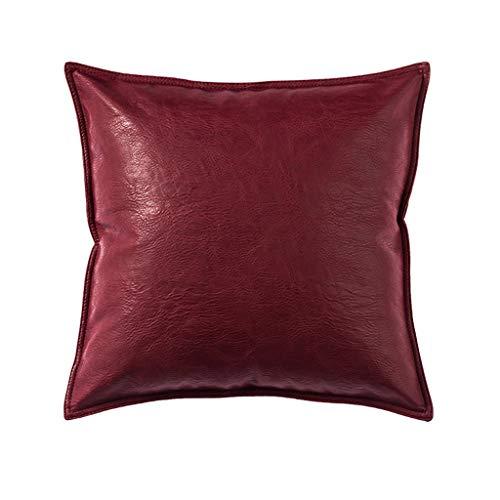 ZH Einfarbig Kissen Sofakissen Bett Kissen Auto Büro Kissen, Crazy Horse Leder, Rückenstütze, Lendenkissen, Kissen Lesen (Farbe : Rot, größe : 50x50cm)