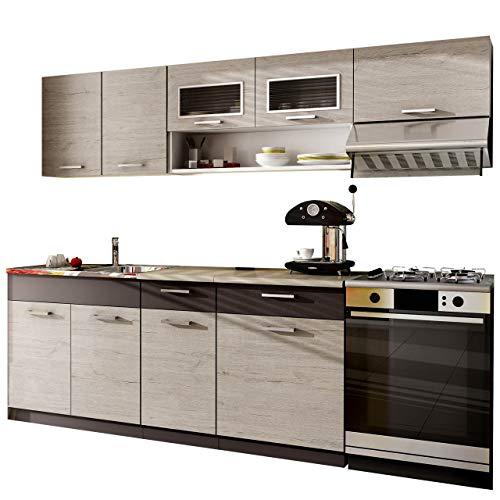 Küche Moreno 180/240 cm mit Arbeitsplatte, Farbauswahl, Küchenblock/Küchenzeile, 6 Schrank-Module frei kombinierbar (Weiß/Picard + Grau Graphit/Petra Beige)