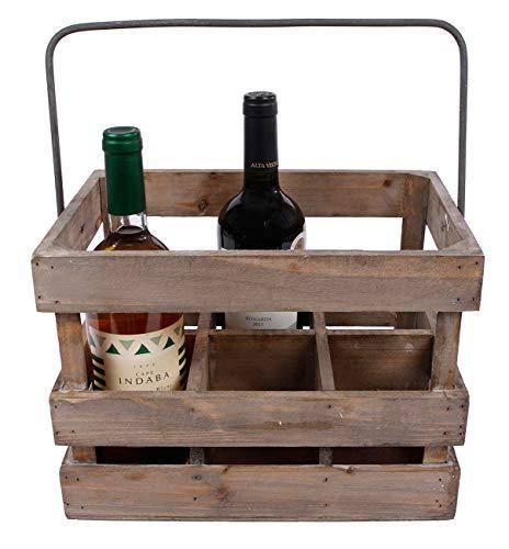 hLine Weinkiste aus Holz Weinträger Geschenk für Weinliebhaber 6 teilig