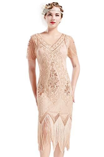 ArtiDeco - Vestido de mujer estilo años 20 con mangas cortas, disfraz de Gatsby para fiestas temáticas albaricoque XS