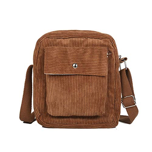 MaNMaNing-Bag Damen Kordhose Kuriertasche Winter Outdoor Freizeit Schultertasche Schultasche Einfarbige Einfachheit Umhängetasche (Braun)