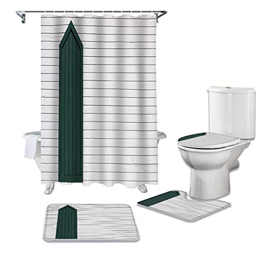 Anzona 4 Pieces Shower Curtain Sets with Non-Slip Rugs, Toilet Lid Cover and Bath Mat, Wooden Grain Mini Green Window Water-Resistant Durable Bathtub Curtain with 12 Hooks,Standard 72''x72''