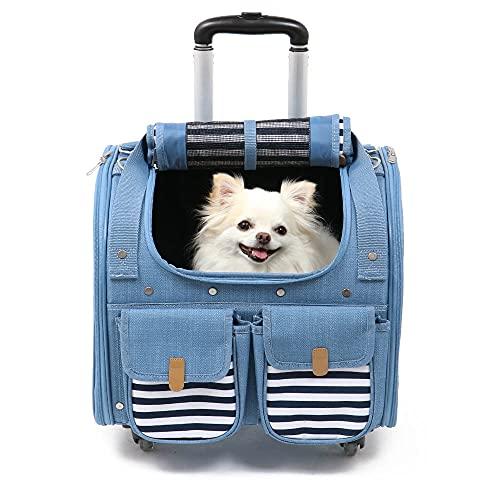 ペットパラダイス プリティブーケ 犬用 デニム風 4輪 キャスター付き コロコロ キャリー 【6kg】465-96436