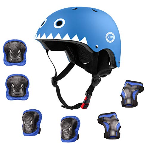 XJD ヘルメット こども用 キッズプロテクターセット 調節可能 軽量 高剛性 通気性 スケボー サイクリング 保護用 子供 自転車 プロテクター 巾着袋付き (モンスター、青色, S:48~54cm)