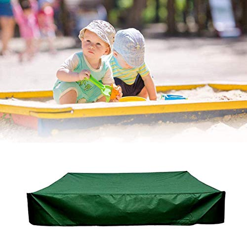 NMVB Sandbox Cover, Waterproof Dustproof Sandpit Pool Sandbox Cover, Oxford Cloth Square Protection Cover Fire Pit Lid, Sandbox Canopy with Drawstring (Color : Green, Size : 120x120x20cm)