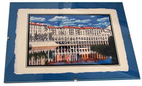 Tolosa; Rio Oria: Composición Digital sobre Papel Rustico en Marco de Clips. 18x24 cm. 10trazos