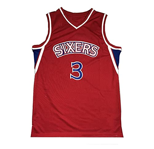 LIPENG NBA Jersey Mitchell Ness Allen Iverson # 3 Filadelfia 76ers Black Mesh Swingman Basketball Jersey Swingman Vintage Malla Bordada Jersey (Color : Red, Size : XL)