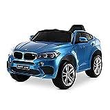 Playkin BMW X6M AZUL, Coche de bateria para niños mando 12V licencia oficial luces y sonidos juguetes infantiles coches de bateria