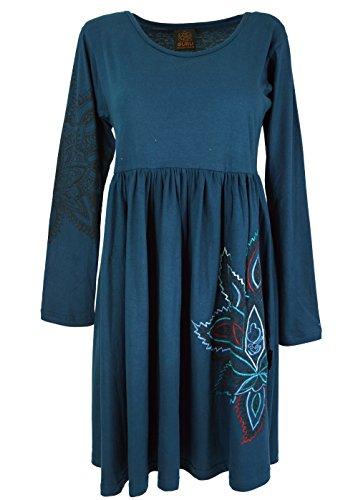 Guru-Shop, Geborduurde Hippie Mini-jurk Boho Chic, Tuniek met Lotusprint, Petrol, Size:M (14), Korte Jurken
