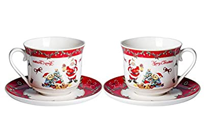 Xiteliy Tea cup Saucer set Christmas Gecorations Gift theme Ceramic Coffee Cup Mugs 15 oz Large Capacity Perfect for Specialty Coffee Drinks Latte Cafe Mocha and Tea (White, 2)