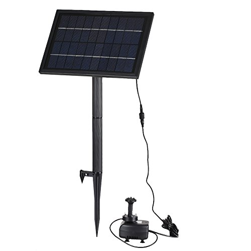 Anself 10V 5W Solar Power Fountain Pump with LED Light, Built-in Storage Battery, Brushless Submersible Water Pump for Garden Pond, 200L/H, Lift 150cm