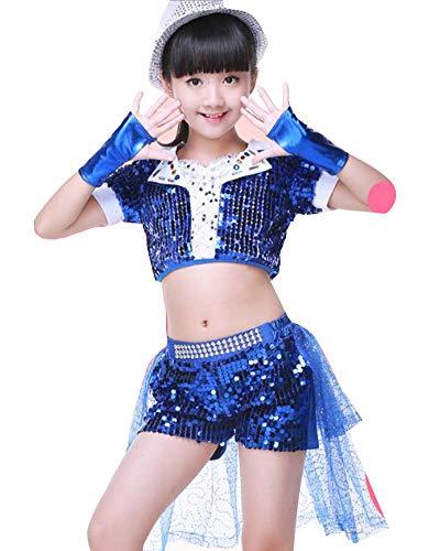 Mädchen Hip Hop Jazz Paillette Modern Dance Kostüme Trägershirt Kleidung Set Königsblau Mädchen...