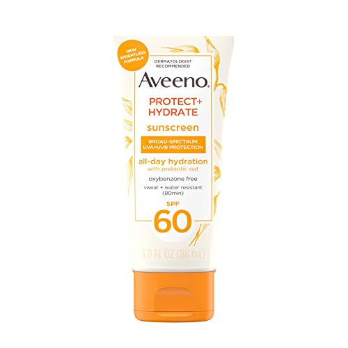Aveeno Protect + Hydrate Moisturizing Body Sunscreen Lotion With Broad Spectrum Spf 60 & Prebiotic Oat, Weightless & Refreshing Feel, Paraben-free, Oil-free, Oxybenzone-free, 3.0 ounces