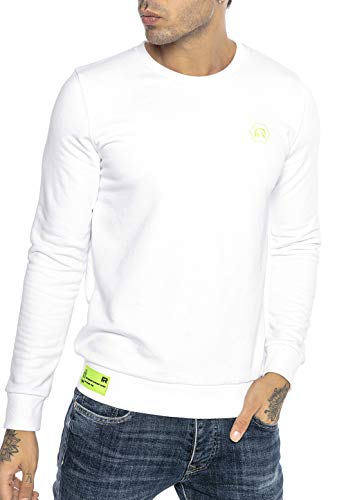 Redbridge Felpa da Uomo Maglia Basic Sweatshirt Neon Logo Stitch Bianco XXL